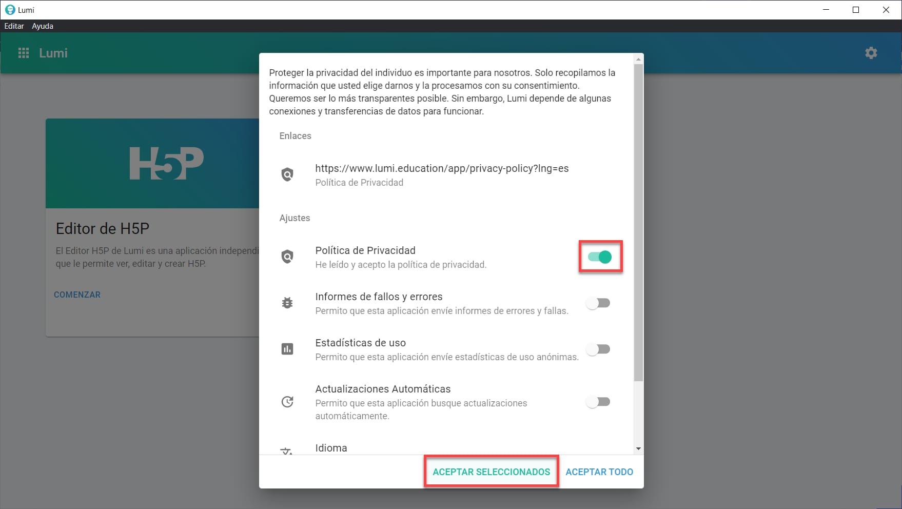 Opciones de privacidad de Lumi Education