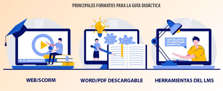 Principales formatos para la guía didáctica: web/scorm, word/pdf y el LMS