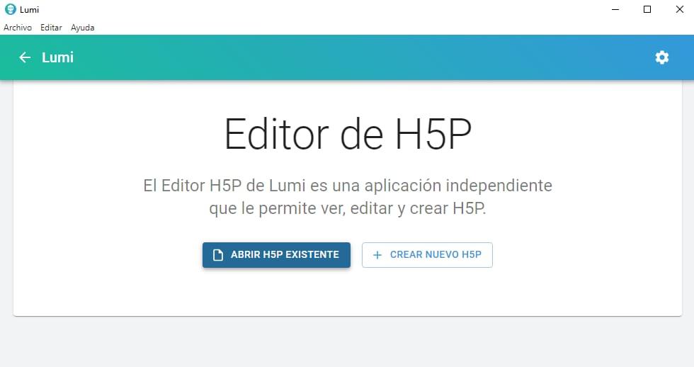 Editor de H5P de Lumi con las opciones Abrir H5P o crear H5P