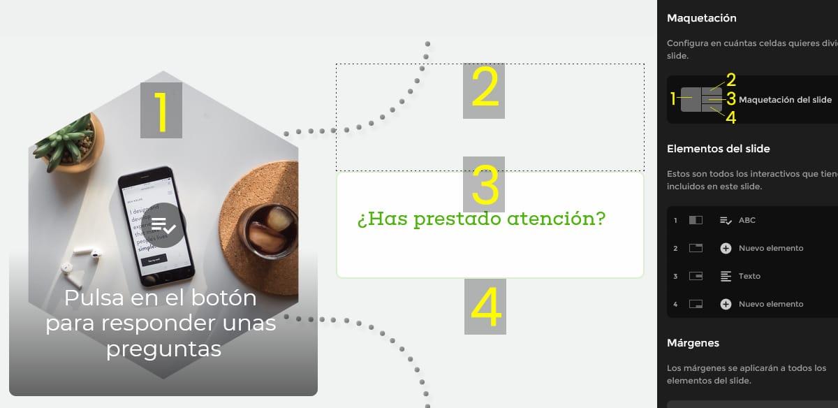 isEazy utiliza un menú de edición a la derecha con un esquema de la maquetación. A la izquierda se muestra el resultado.